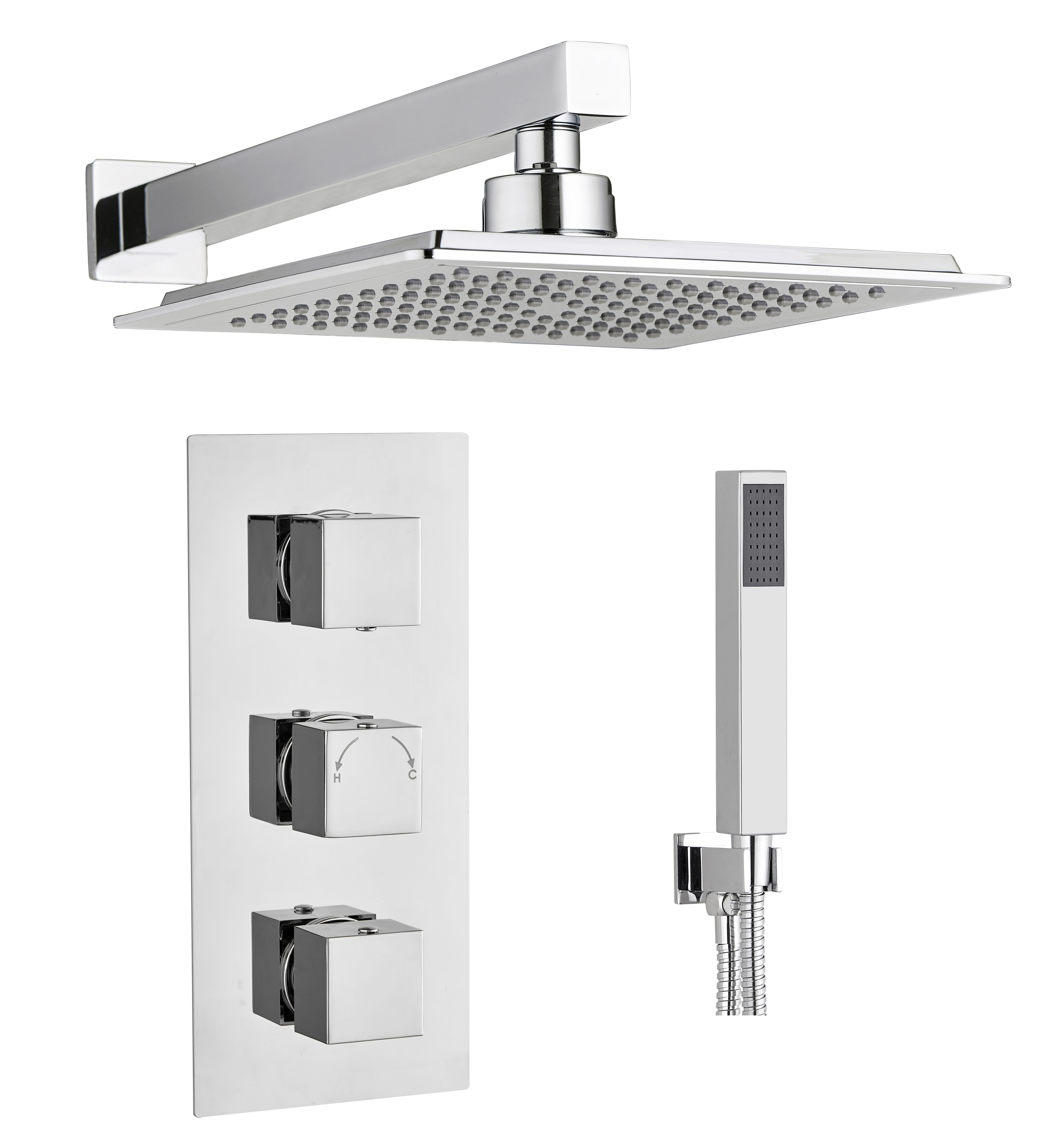 High Quality Professional Design Thermostatic Mixer Valve: Square Concealed Thermostatic Shower Mixer Valve 3 Handle