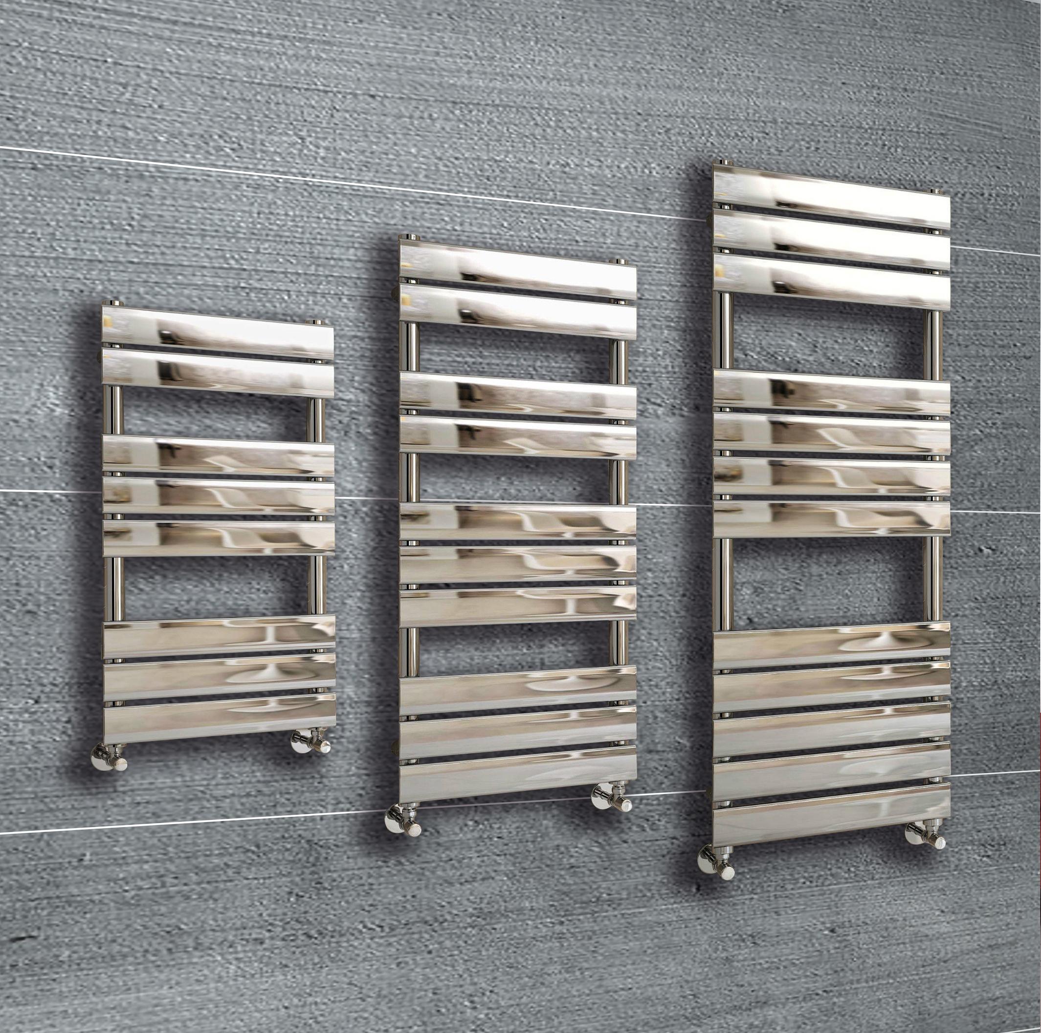 Heated Towel Rails Radiators Baxx Heated Towel Rail: Designer Flat Panel Chrome Heated Towel Rail Radiator